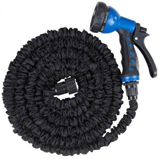 Black Plastic 75' Male/Female Connector Expandable Garden Water Hose Pipe With 8-Function Sprayer Gun and Spare Washers