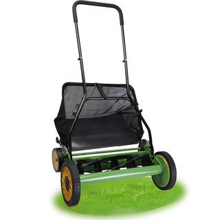 Black and Green 20-inch Adjustable Height Classic Reel Lawn Mower with Grass Catcher
