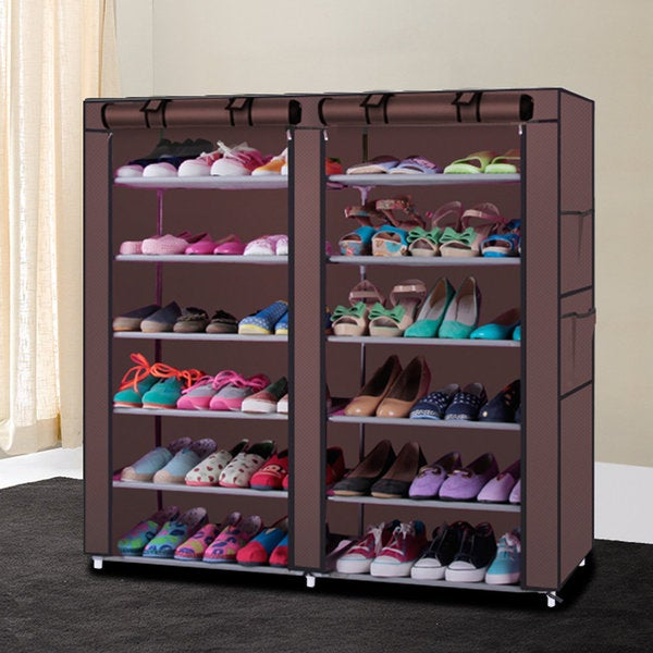 6-row, 2-line, 12-lattice Non-woven Fabric Shoe Rack Coffee
