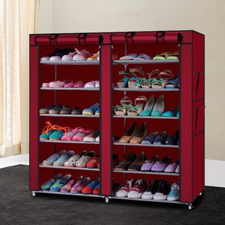 6-Row 2-Line 12 Lattices Wine Red Non-woven Fabric Shoe Rack