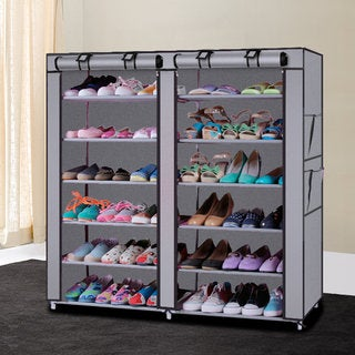 Grey Fabric Shoe Rack