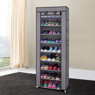 Charming Fashionable Room Saving 9 Lattices Non Woven Fabric Shoe Rack Gray