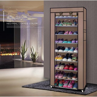 Fashionable Room-saving 9 Lattices Non-woven Fabric Shoe Rack Coffee