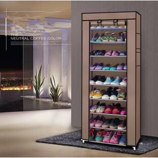 Fashionable Room-saving 9 Lattices Non-woven Fabric Shoe Rack Coffee