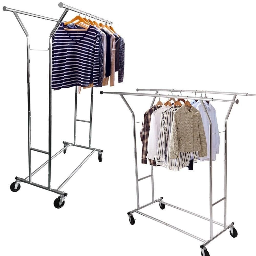 Portable Double-bar Steel Clothes Rack Silver (Clothes Ra...