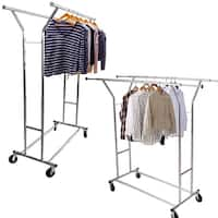 Portable Double-bar Steel Clothes Rack Silver