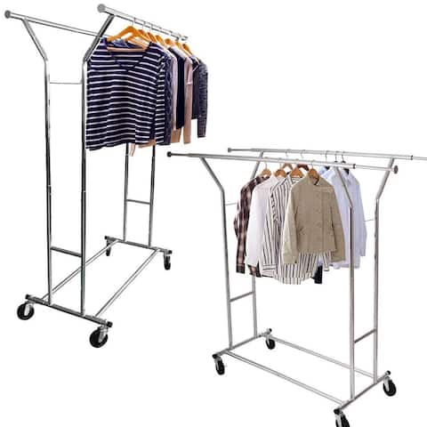 Portable Double-bar Steel Garment Rack Silver Clothes Drying Rack