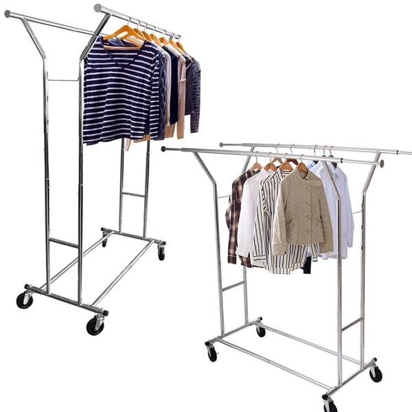 Portable Double Bar Steel Garment Rack Silver Clothes Drying