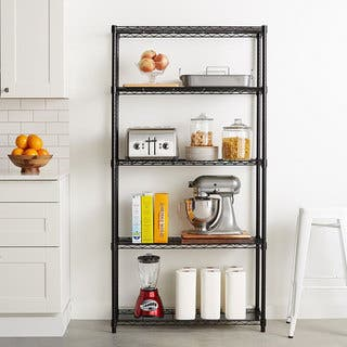5-Layer Black Plastic Coated Iron Shelf