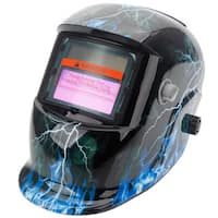 Solar Powered Auto Darkening Welding Helmet Lightning Skull Pattern