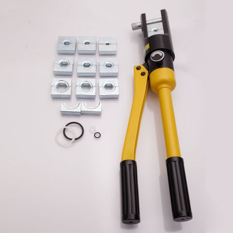 YQK-300 Domestic Use 16T Hydraulic Pliers with 11 Dies Black & Yellow