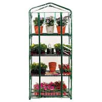 Light Green 27 x 19 x 63-inch Single-row 4-layers Peaked-roof Greenhouse Shack