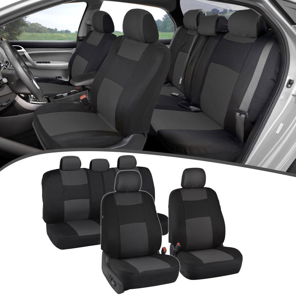 Universal Breathable Auto Car Seat Covers Gray 11 Pieces For SUV VAN Truck