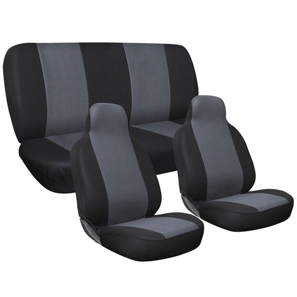 Four Seasons Universal Black/Grey 5 Seat 6 Piece Flat Cloth Integrated Car