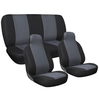 Four Seasons Universal Black/Grey 5-Seat 6-piece Flat Cloth Integrated Car Seat Cover