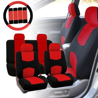 Four Seasons Universal Red 4-headrest Flat Cloth Car Seat Cover 13-piece Set