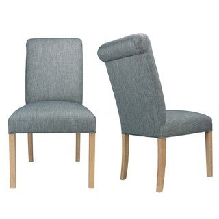 Key-Largo Ash White Wash Legs Roll-Back Upholstered Dining Chairs (Set of 2)