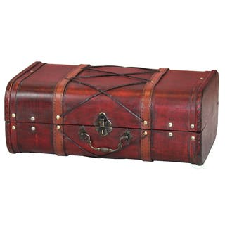 Antique Cherry Wooden Suitcase with Leather x Design|https://ak1.ostkcdn.com/images/products/14781371/P21303101.jpg?impolicy=medium