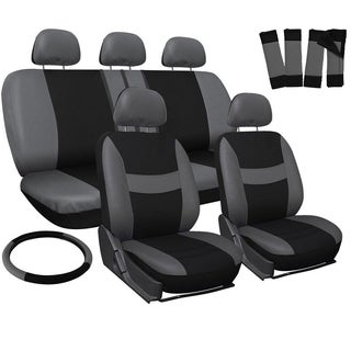 Four Seasons Grey and Black Universal 5-headrest Car Seat Cover Set