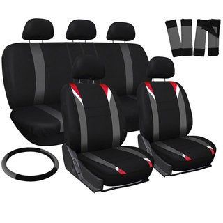 16-piece Universal 5-headrest Flat Grey, White, and Red Stripe Cloth Car Seat Cover Set
