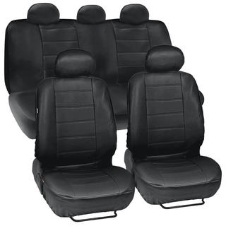 Black PU Leather Four-season 2-row Seat Universal 5-headrest 13-piece Car Seat Cover Set