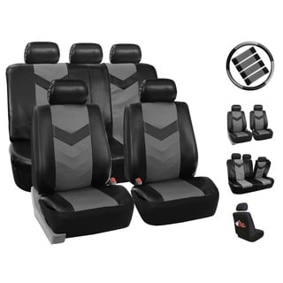 Four Seasons Grey/Black PU Leather Universal 5-headrest 12-Piece Car Seat Cover Set
