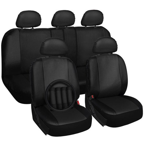 Universal Breathable PU Leather Two Front 6 Pieces Full Black Car Seat Cover Set