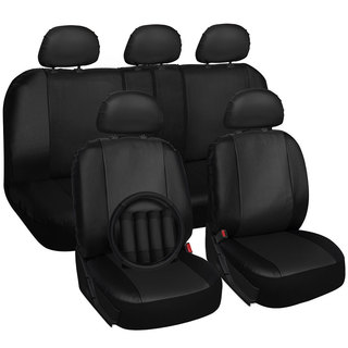 Four Seasons Universal 5-headrest Black PU Leather Car Seat Cover 18-piece Set