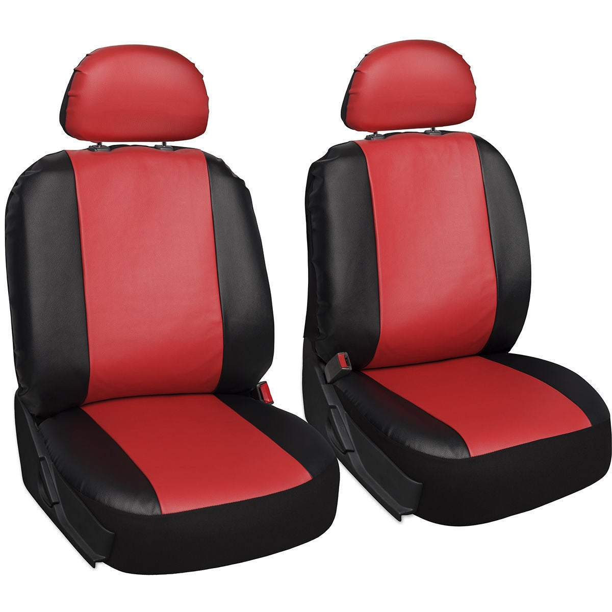 Red And Black Pu Leather Four Season Universal 5 Headrest 18 Piece Car Seat Cover Set Overstock 14781391