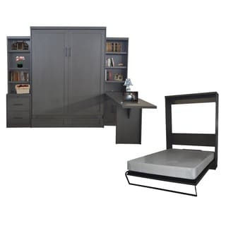 Queen Andrew Murphy Bed with Drawer Bookcase and Door Bookcase and Desk in Metro Gray Finish