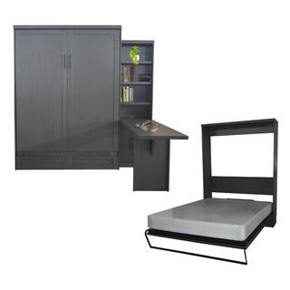 Queen-Size Andrew Murphy Bed with Door Bookcase and Desk in Metro Grey Finish