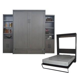 Queen-Size Andrew Murphy Bed with 2 Door Bookcases in Metro Grey Finish