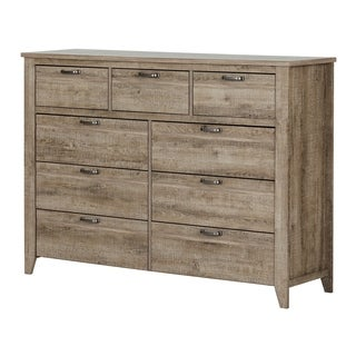 South Shore Lionel 9-drawer Double Dresser / Farmhouse / Weathered Oak (2 options available)
