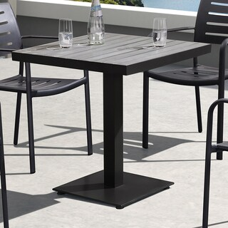 Armen Living Zander Brown Finished Wood/Cast Aluminum Outdoor Patio Dining Table
