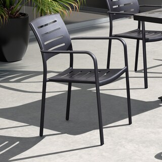 Armen Living Zander Stackable Outdoor Patio Dining Chair in Brown Finished Cast Aluminum - Set of 2