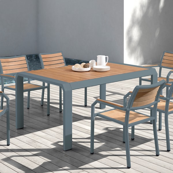 Shop Armen Living Minsk Grey/Natural Aluminum/Teak Wood ...