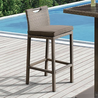 Armen Living Stewart Outdoor Brown Rattan Patio Barstool with Brown Fabric Cushion