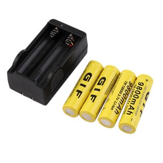 18650 3.7V 9800mAh Rechargeable Li-ion Batteries and Charger for Flashlight (Pack of 4)