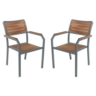 Armen Living Minsk Grey Powder Coated Teak Wood Outdoor Patio Dining Chairs (Set of 2)