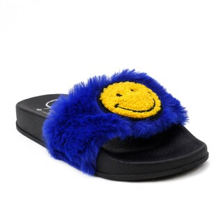 OMGirl Sab Blue/Black Faux Fur Slide