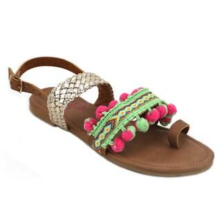 OMGirl Kahlia Multicolor Textile/Rubber/Polyurethane Sandals (Option: Yellow)