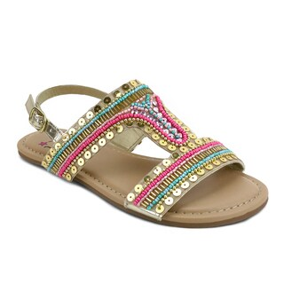OM Girl's Ami Beaded Sequin-accented Sandals (Option: 1)