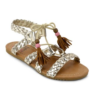 OMGirl Girls' Anessa Gold-tone Polyurethane and Rubber Sandals