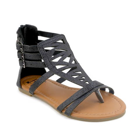 OMGirl Cressida Black/Gold Polyurethane/Rubber Gladiator Sandals