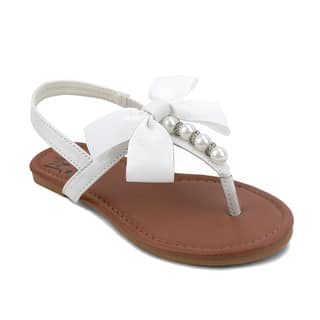 OMGirl Girls' Lilian White Polyurethane and Cotton Sandals|https://ak1.ostkcdn.com/images/products/14781991/P21303528.jpg?impolicy=medium