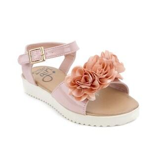 OM Girl's Penelope Pink Floral Accent Sandals