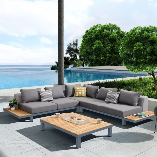 Shop Armen Living Polo 4 Piece Outdoor Sectional Set With Dark Gray