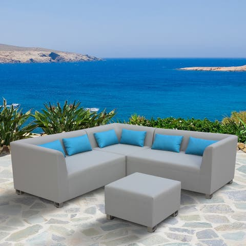 Armen Living Lagoon Outdoor Taupe Textilene 4-piece Sectional Set with Sky Blue Accent Pillows