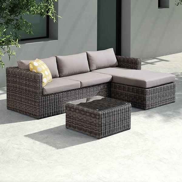 Living Accents Metropolitan Patio Furniture: Shop Armen Living Hagen 3 Piece Outdoor Rattan Sectional