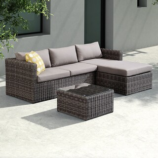 Armen Living Hagen 3 piece Outdoor Rattan Sectional Chase Set with Brown Cushions and Modern Accent Pillows